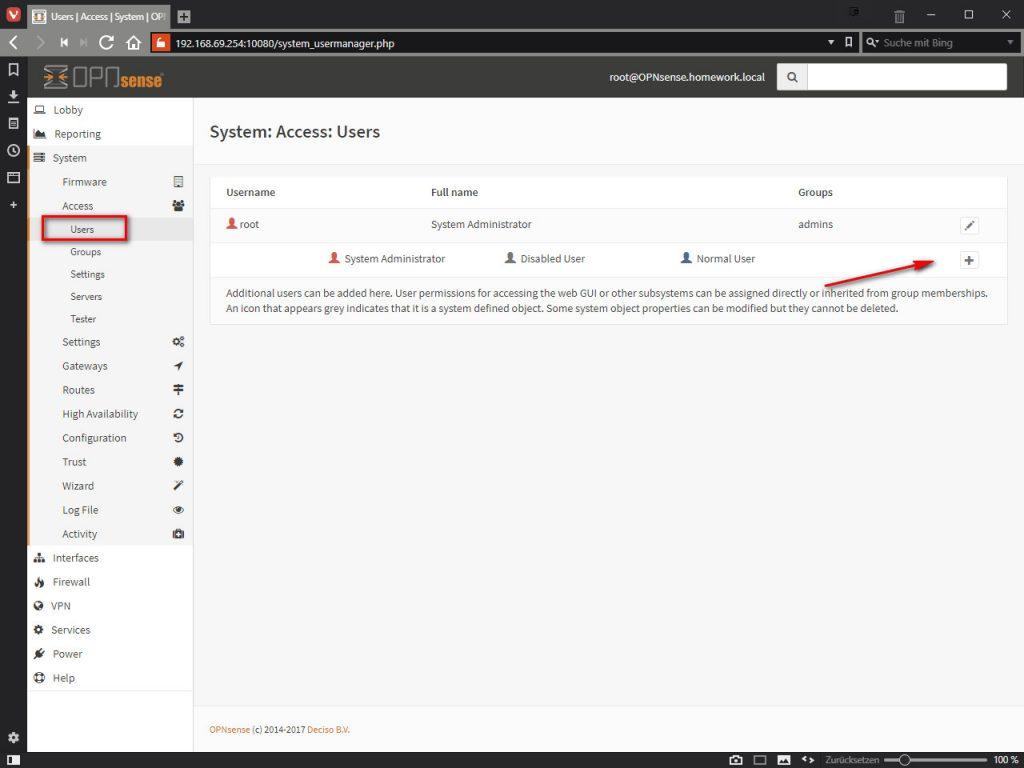 OPNsense System: Access: Users
