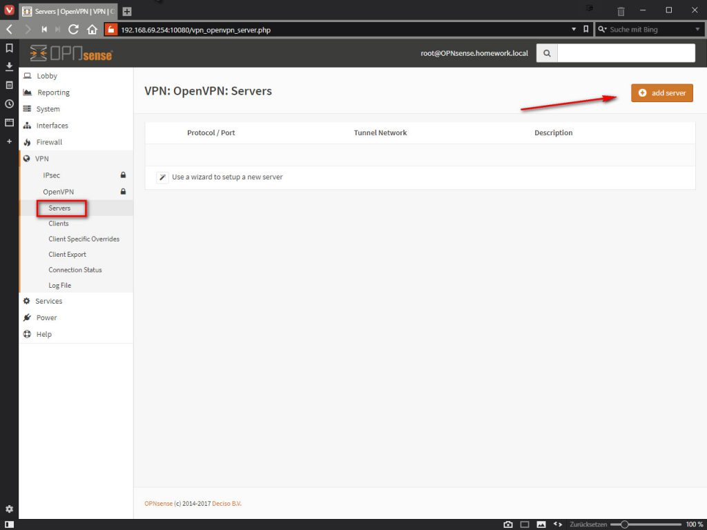 OPNsense VPN: OpenVPN: Servers