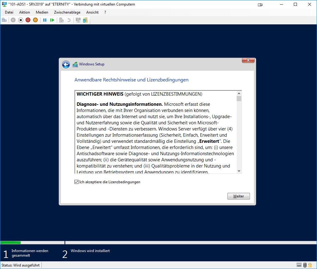 Installation Windows Server 2019 - Lizenzbedinungen