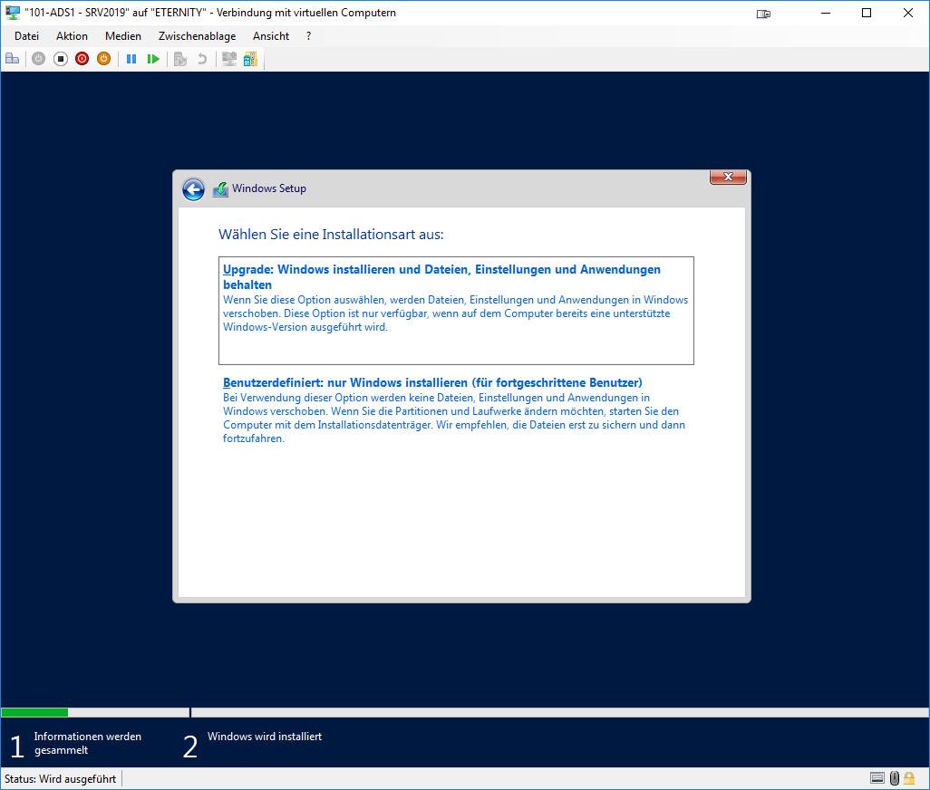 Installation Windows Server 2019 - Installationsart