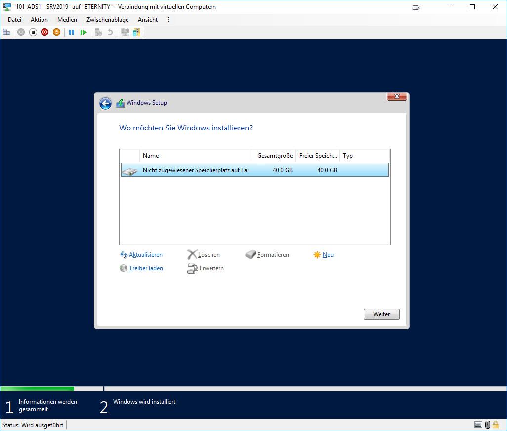 Installation Windows Server 2019 -Installationsziel