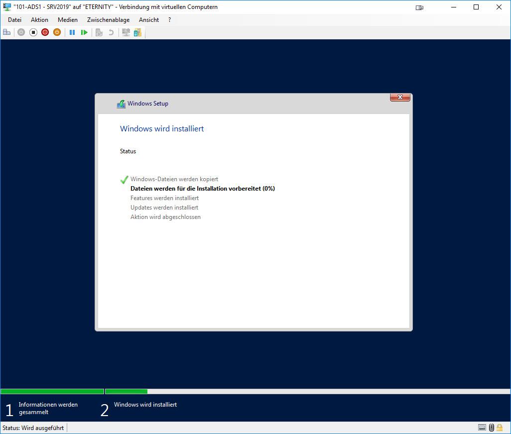 Installation Windows Server 2019 - Fortschrittsanzeige