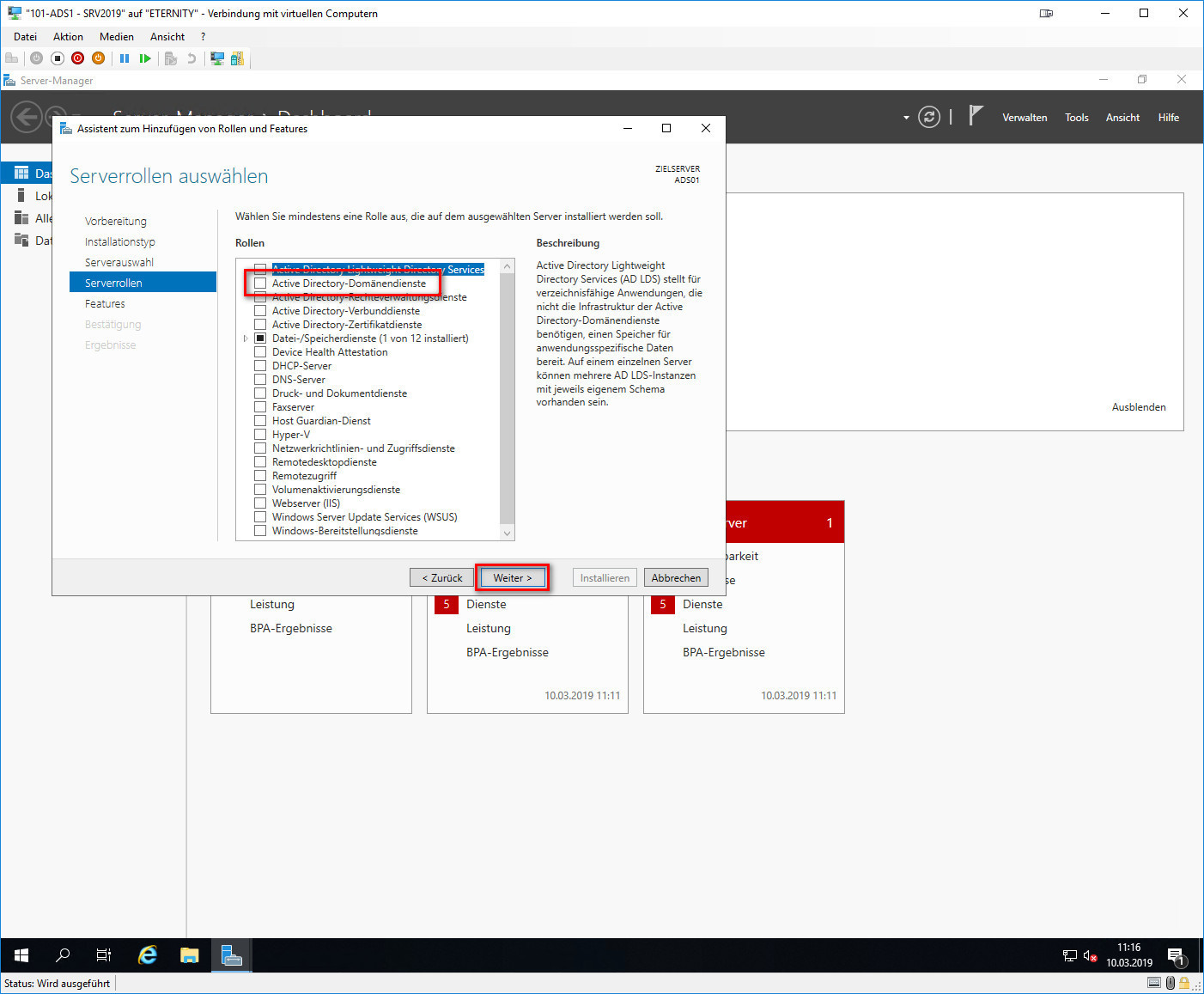 Serverrolle Active Directory-Domänendienste