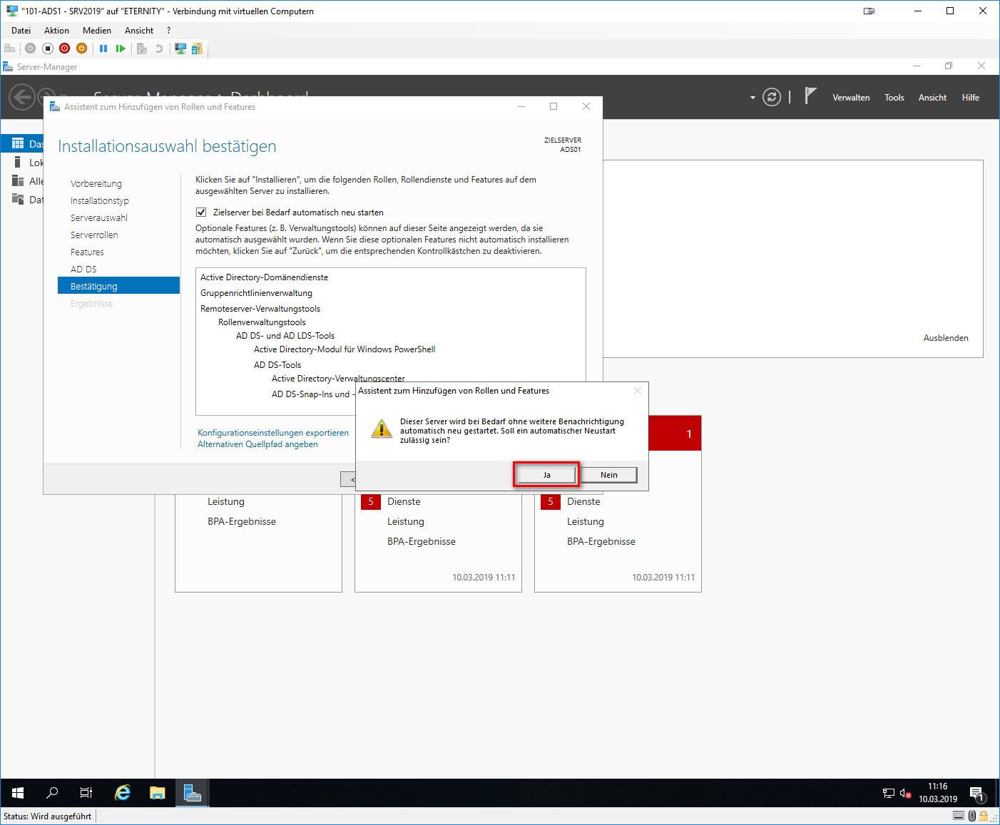 Active Directory-Domänendienste Hinweisfenster