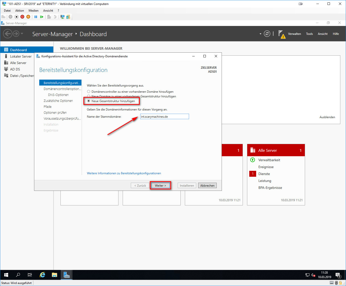 Assistent für Active Directory-Domänendienste