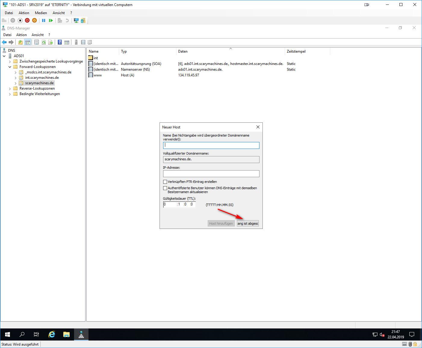 DNS-Manager Host A Eintrag
