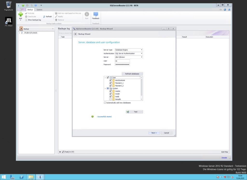 SQLServerBooster - Backup Wizard - Server, database and user configuration